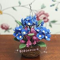 bobominiworldハンドメイドHanging花ドールハウスミニチュア装飾1 : 12スケール高さ6 cmブルー