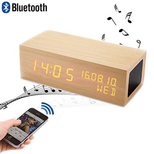 iitrust デジタル置き時計 Bluetooth スピーカー 付き スピーカー パソコン LED目覚まし時計 置き時計 木目 アラーム USB給電 Bluetooth ワイヤレス スピーカー搭載 音楽を聞く ハンズフリー通話 iitrust正規代理品