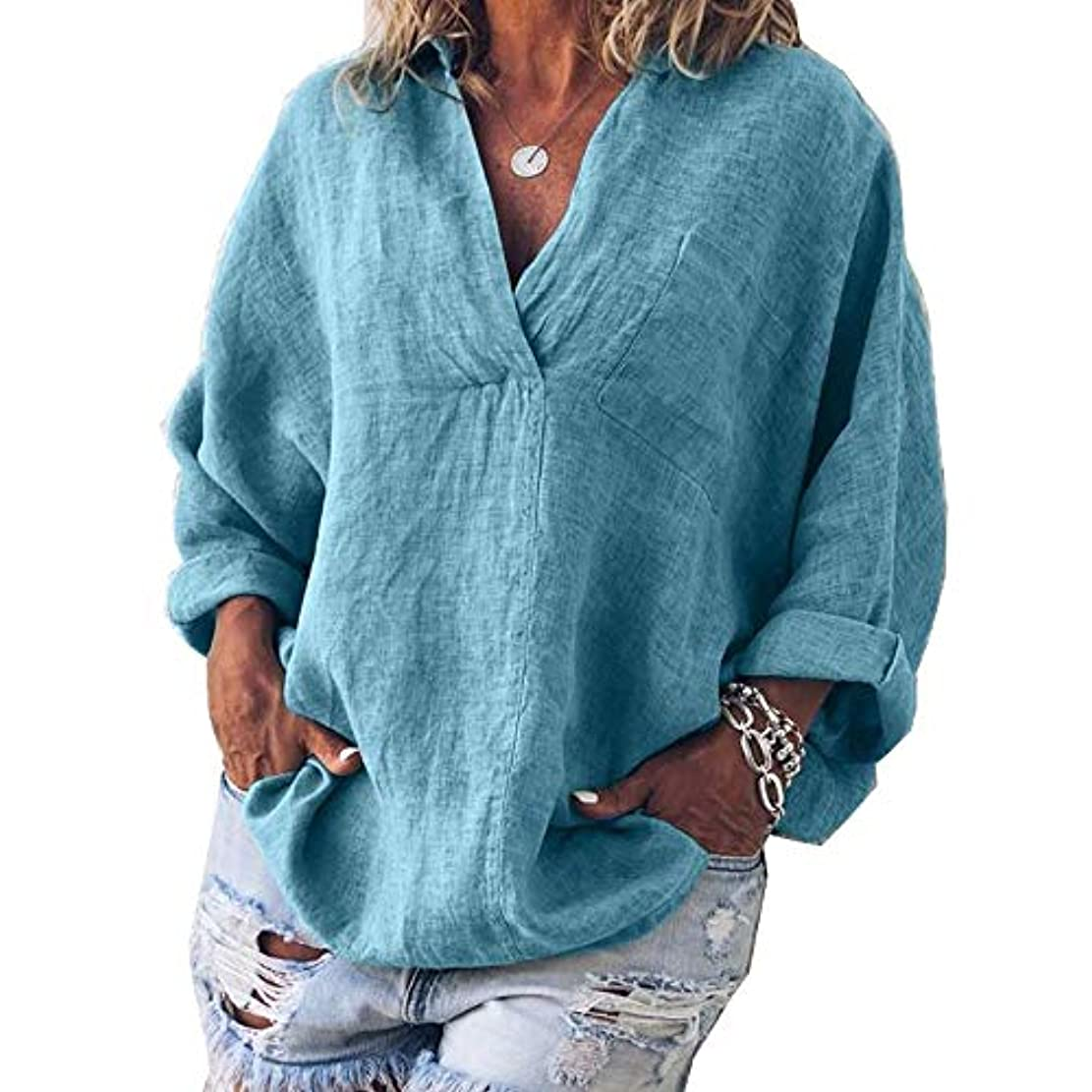 創傷記述する平野MIFAN女性ファッション春夏チュニックトップス深いVネックTシャツ長袖プルオーバールーズリネンブラウス