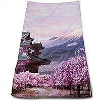 富士山 春の景色 桜 タオル フェイスタオル 綿 人気 柔らか肌触り ふんわり 瞬間吸水 速乾 家庭用、スポーツなどに最適 重さ約120g/枚