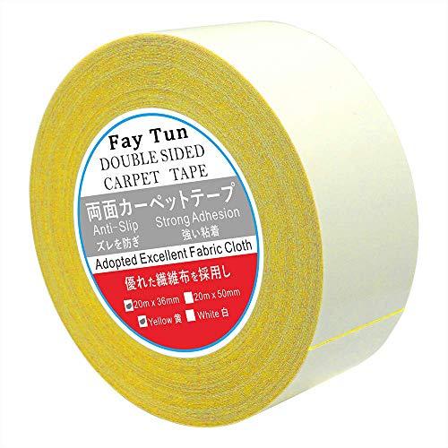 FayTun カーペットテープ 36mm*20m大面積 両面テープ カーペット 滑り止めテープ 強粘着 きれいにはがせる 痕が残らない 玄関マットの固定 装飾物の固定 一年間品質保証