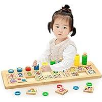 [ドリーマー] 立体パズル 棒さし 形合わせ はめこみ 数字認識 色 カラフル 幾何学 積み木  木のおもちゃ 幼児 子供 キッズ 赤ちゃん お誕生日プレゼント 出産祝い