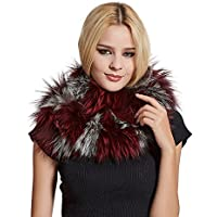 Women's Real Fur Infinity Scarf with Genuine Fox Fur Warm Shawl Scarves Contrast Color - Fur Story