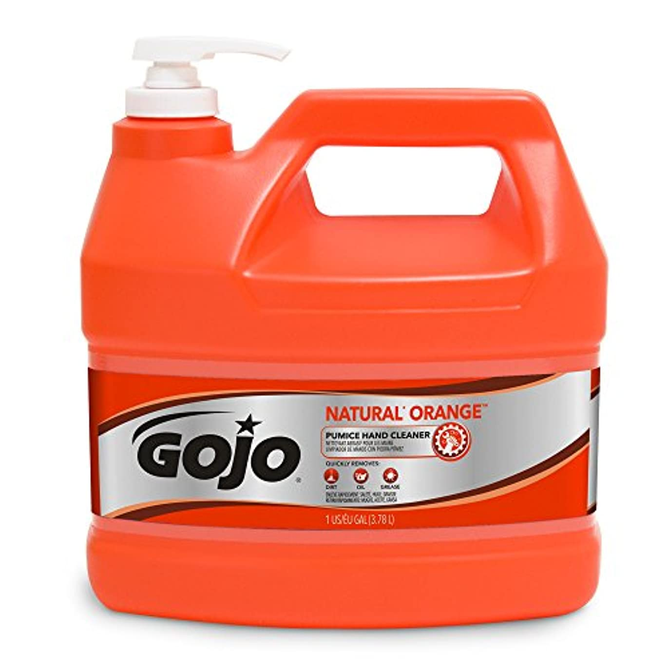 オフナース脚本家GOJO Industries GOJ095504EA Hand Cleaner- Orange Pumice- w-Baby Oil- 1 Gal- Citrus