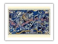 天空のルートPlanisphere - エールフランス - すべての空で - 十二宮 - ビンテージな航空会社のポスター によって作成された ルシアン・ブーシェ c.1938 - プレミアム290gsmジークレーアートプリント - 30.5cm x 41cm