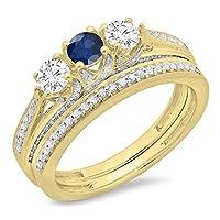 14Kゴールドラウンドカットブルーサファイア&ホワイトダイヤモンドレディースブライダル3ストーン婚約リングバンドセット