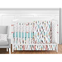 Sweet Jojo Designs 9-Piece Feather Baby Girls Crib Bedding Set with Bumper [並行輸入品]