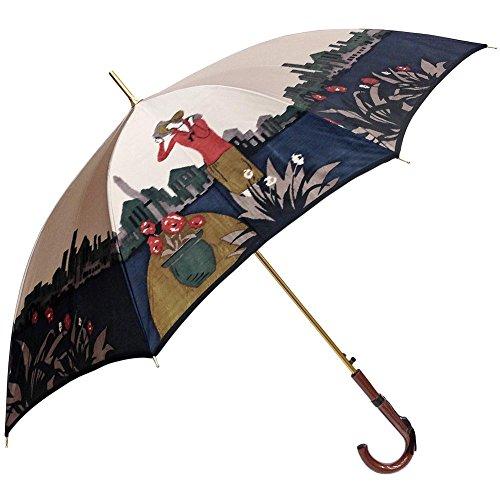 傘 レディース 日本製 長傘 親骨60cm ジャンプ ワンタッチ 軽量 ほぐし織り パリの貴婦人柄 日本製ジャンプ式雨傘 (パープル)