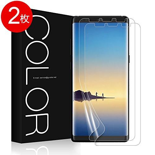 Galaxy Note 8 フィルム G-Color Galaxy Note 8 保護フィルム 気泡ゼロ ケースに干渉せず 非ガラス 貼り直しができる Samsung Galaxy Note8 対応 透明ケース付き (TPU保護フィルム*2枚)