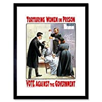 Suffrage Women Cat Mouse Hunger Strike Torture UK Framed Wall Art Print 女性イギリス壁