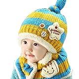 子供用ニット帽+マフラー・ボタン付きネックウォーマー・ニットキャップ・キッズ・ベビー・子ども・男の子・女の子・男女兼用・幼児・Kids F ブルー+黄