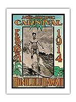 1914ミッドパシフィック・カーニバル - ホノルルハワイ - 特長デューク・カハナモク、世界のチャンピオンのスイマー - ビンテージなカーニバルのポスター によって作成された ルー・ヘンダーソン, ネッド・スティール c.1914 - アートポスター - 46cm x 61cm