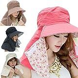 (ミッケタ) mikketa  絶対日焼けしたくない方のための 帽子 リバーシブル 日よけカバー 紫外線対策 UVカット 日焼け防止 (ブラック×小花柄)