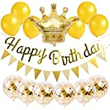 ゴールド誕生日飾り付け 女の子 男の子 バースデー 100日 出産祝い キラキラ 華やか 紙吹雪入れバルーン 王冠 風船 ガーランド 15セット
