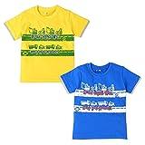 (イエロー/110cm)子供服 男の子 Tシャツ 半袖 オーガニックコットン 働く車 お名前ネーム付き バックプリント 男児 キッズ