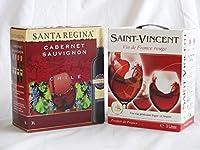 ワインセット 2セット 大容量飲み比べセット(サンタ・レジーナ カベルネ・ソーヴィニヨン 赤ワイン フルボディ3000ml×2本 サン ヴァンサン ルージュ フラン