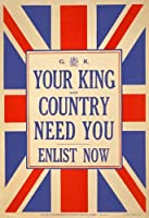 """w80ヴィンテージWWIイギリスKing & Country Need You結合Enlist Army第1次世界大戦採用ポスターww1re-print–4異なるサイズを選択a4/ a3/ a2+ / a43 A3 (420 x 297mm) 16.5"""" x 11.7"""" W80A3"""