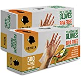 (Large) - 1000 BPA Free Disposable Poly PE Gloves Large, Food Grade, 2 Pack of 500