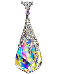 KATE LYNN Crystal Ball Pendant Necklace Swarovski Crystals Aurore Boreale Jewelry for Women Girls Christmas Gifts for Women Anniversary Gifts for Her Birthday Gifts for Wife Mom Daughter Sisters