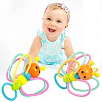 Babylian Grasping Rattles、シリコン製ベビー玩具、乳幼児の歯固め、マッサージソアティーシングガム、幼児用玩具、3ヶ月以上の赤ちゃん向け。
