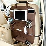 KINDAFLY バックシートオーガナイザー 車内 カバー キックマット自動車 シート収納 ホルダー 後部座席 車用収納 レザー製 水筒、Ipad Mini 収納ポケット