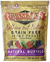 EVANGER'S Nothing But Natural Grain Free Jerky Buffalo Dog Treats 4.5-Ounce