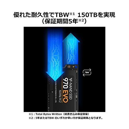 『Samsung SSD 250GB 970 EVO M.2 Type2280 PCIe3.0×4 NVMe1.3 5年保証 正規代理店保証品 MZ-V7E250B/EC』の2枚目の画像