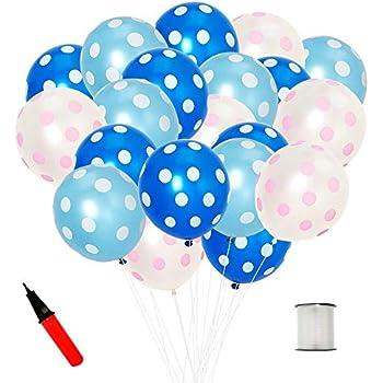 JINSELF ドット あんしん極厚風船 100個セット 誕生日 結婚式 パーティー 飾り付け 飾り 装飾 空気入れ ブルー