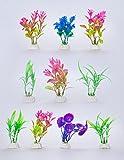 Govine® 10Pセット プラスチック植物 人工水草 アクアリウム 水槽 水族館装飾