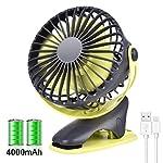 【2019年最新版】卓上扇風機 USB扇風機 クリップ扇風機 4枚羽根USBファン 卓上ファン ポータブル扇風機 4000mAh 長時間連続使用 USB充電クリップ式 超静音 低騒音 風速4段階調節 360度角度調整 (緑とグレー)