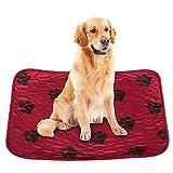 Smandy 犬 おしっこマット ペット用 おしっこシート 犬のおしっこパッド 防水 速乾 介護 洗える 再使用可能 犬 猫 ペットシーツ 床ずれ防止マット(レッド 40*60cm)