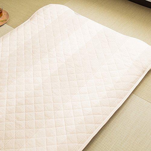 【和のしじら織り製法◆温もりの伝統織り】 1年中快適な敷きパッド ベタつきにい (シングルサイズ) 100×205cm 爽やかな寝心地 家庭で洗える 綿100% 長持ち加工済 ベージュ色