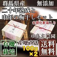 二十年熟成と申年の梅干しセット 各1箱(木製化粧箱入り) 100g×2箱 (群馬県 ゆあさ農園)有機栽培梅 産地直送 ふるさと21