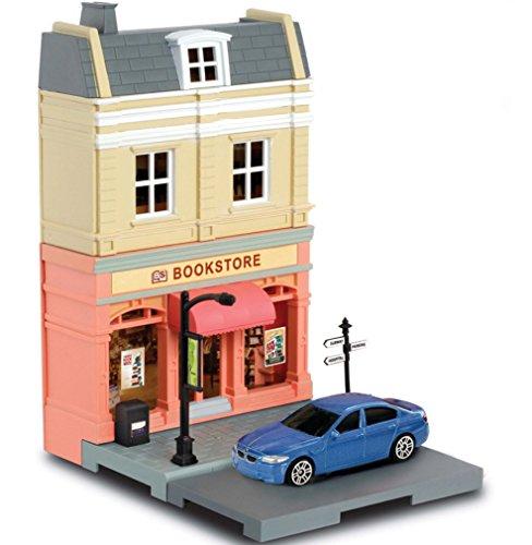 Mille Ti Rana ミニカー と遊べる お店 つながる街 道路 車1台 付き (本屋 ブックストア BMW M5)