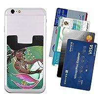 スマートフォン ポケット カードケース 入れ マーメイド と 魚 尾 スマホステッカー 背面貼り付け カードホルダー スマホカード収納 小物 Iphone 対応 強い伸縮性 外出便利