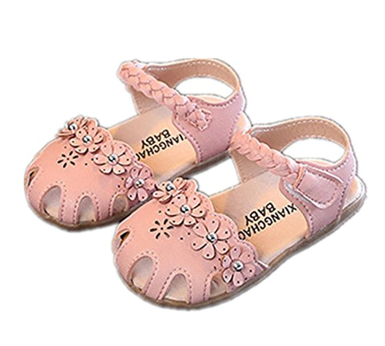 Candykids子供 サンダル 女の子 ふわふわ ベビー サンダル キッズ 滑り止め シューズ お花モチーフ 靴 通気性