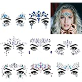 Face Jewels Glitter Temporary Tattoo, 8 Pcs Body Rhinestone Jewelry Stickers Crystal Mermaid Eyes Tears Gems Stones...