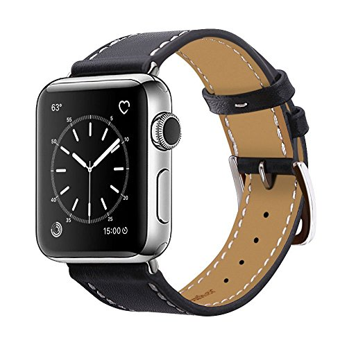 BRG apple watch バンド,本革 ビジネススタイル アップルウォッチバンド アップルウォッチ1 apple watch series 2 apple watch series 3 レザー製(42mm,ブラック)