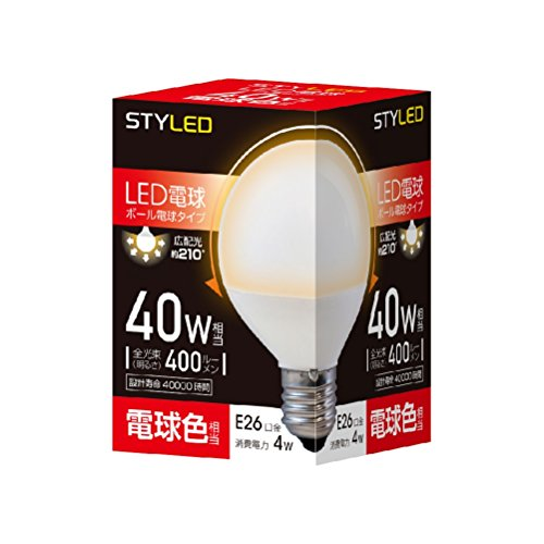 LED電球 一般電球・ボール電球形 口金直径26mm 40W形相当 電球色相当(4W・400ルーメン) G70(70mm径) SDG40L1