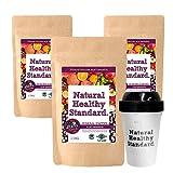 Natural Healthy Standard ミネラル酵素アサイースムージー ベリー味 200g x3set + Original Shaker x1