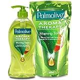 【Palmolive】パルモリーブ アロマセラピーシャワージェル ボトルと詰め替えのセット (モーニングトニック)