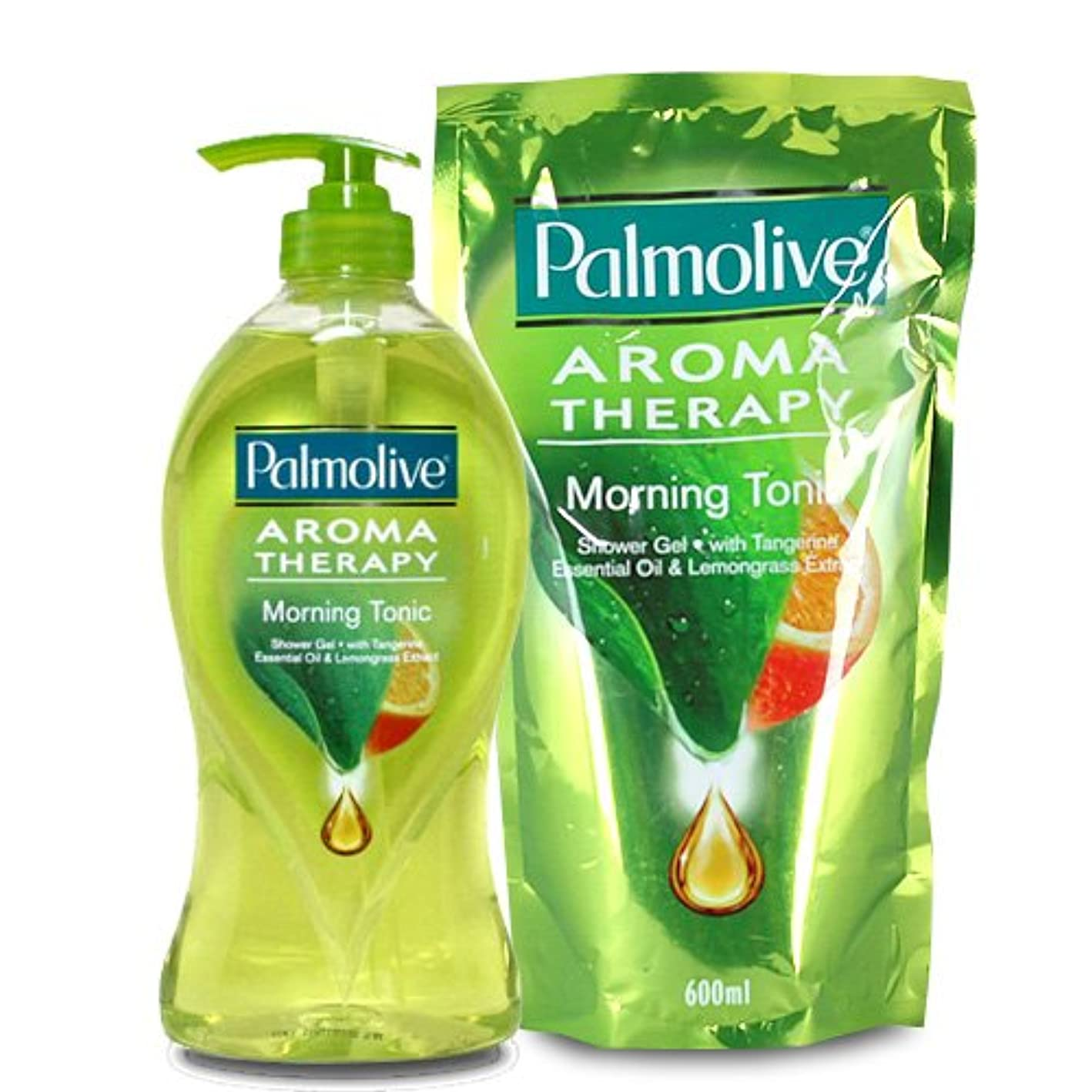 マークされたあえて革命【Palmolive】パルモリーブ アロマセラピーシャワージェル ボトルと詰め替えのセット (モーニングトニック)
