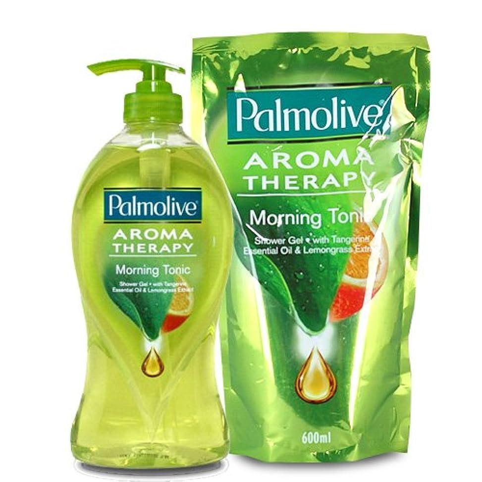 モート表示ビスケット【Palmolive】パルモリーブ アロマセラピーシャワージェル ボトルと詰め替えのセット (モーニングトニック)