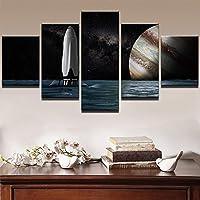 WLHBH キャンバスの壁アートポスターフレームモジュラーHDプリント絵画5パネルルームの装飾写真星空惑星風景写真,40x60 40x80 40x100cm,枠なし