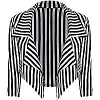 21FASHION Womens Black White Striped Waterfall Blazer Ladies Long Sleeve Crop Jacket Coat Small/XX-Large