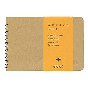 ミドリ スパイラルリングノート <B7>窓付封筒 草原ミツバチ柄