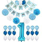 一歳 飾り付け ブルー 誕生日 男の子 女の子 happy birthday バナー ガーランド バルーン 風船 ペーパーフラワー 数字1 38枚セット