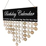 F Fityle Wooden Birthday Celebration Calendar Wall Hanging Plaque Board with 50 Pieces Blank DIY Discs & Round Hook - Birthday Calendar