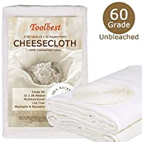 (Grade 60) - Toolbest TB-G60 Cheesecloth 100% Unbleached Fabric Cooking Twine, Washable and Reusable Cotton Strainer, Filter (Grade 60)