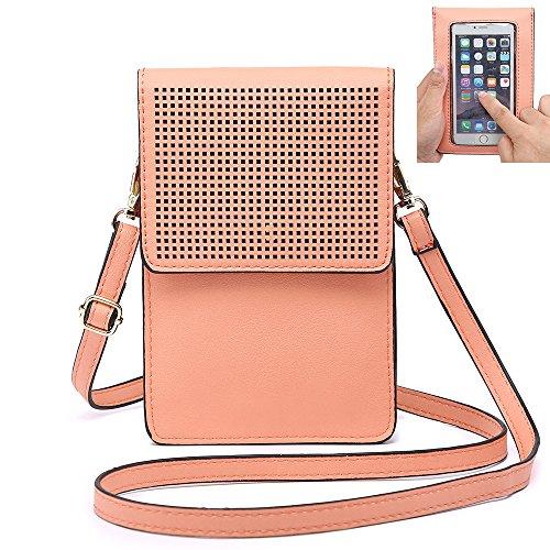 ミニバッグ,携帯電話バッグクロスボディバッグ 女性やティーン向け IPhone X 8 Plus Samsung S8 7 用携帯バッグミニ斜めがけパース(ミニ, ピンク)